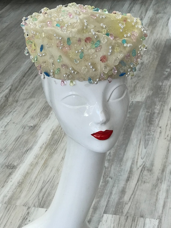 1950s Christian Dior Couture Bridal Hat / Vintage