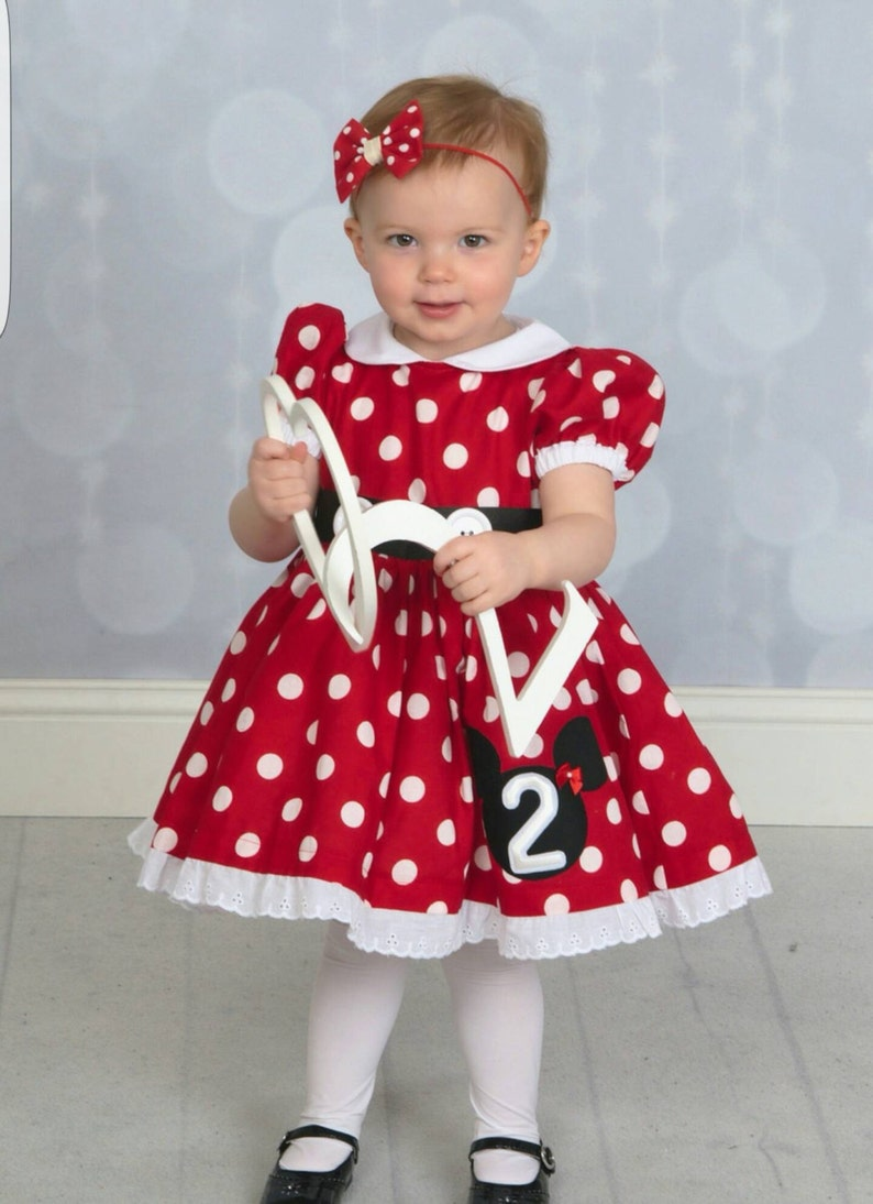 d0c23321ff9 Red White or Pink White Polka Dot Minnie Mouse Dress with