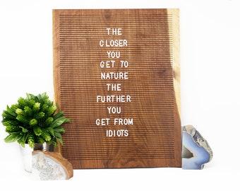 Wooden Letter Board 15x20- Walnut -  Letterboard, Message Board, Felt Board, Modern Farmhouse, Modern Cabin, Natural, Organic, Handcrafted
