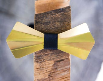 Brass Metal Bow Tie - Brass, Gold, Handmade, Adjustable, Unique, Wooden Bow Tie, Wood Bow Tie, Groom, Groomsmen, Wedding, Graduation