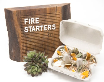 FIRE STARTERS - Orange and Sage- 6 Pack / half carton- Soy Wax, Cinnamon Stick, Rosemary, Bay Leaf, Campfire, Fire Pit