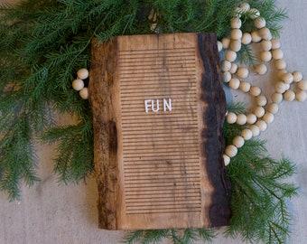 Wooden Letter Board -Live Edge Black Walnut- Letterboard, Message Board, Felt Board, Wall Decor, Handcrafted, Photo Prop, Mid-Century Modern