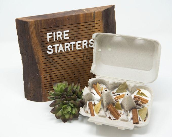 FIRE STARTERS - Cinnamon Glow - 6 Pack / half carton- Soy Wax, Cinnamon Stick, Rosemary, Bay Leaf, Campfire, Fire Pit