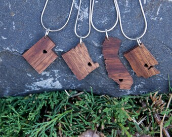 State Necklace in Walnut - Personalize with ANY State and City -  Wood, Heart, Pride, City, State Jewelry, Pendant, Gift, Sterling Silver