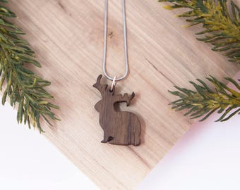 Jackalope Necklace - Criptid, Cryptozoology, mythological, camping pendent, rabbit, bunny, fantasy, handmade, outdoor, mythology, wood