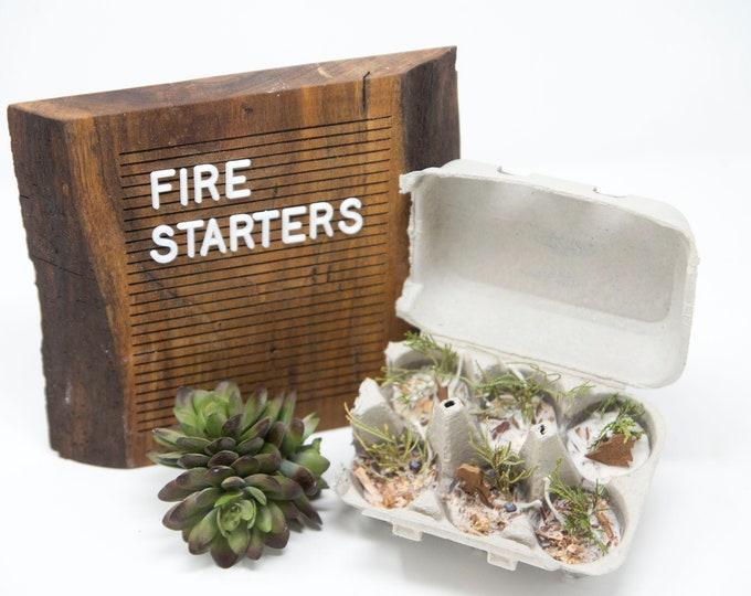 FIRE STARTERS -Roasted Walnut- 6 Pack / half carton- Soy Wax, Cinnamon Stick, Rosemary, Bay Leaf, Campfire, Fire Pit