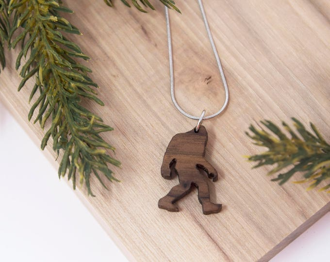 Featured listing image: Bigfoot Necklace, Sasquatch Necklace, - Yeti, pendent, handmade, camping, outdoor, mythology, PNW, Pacific Northwest, Washington, Oregon