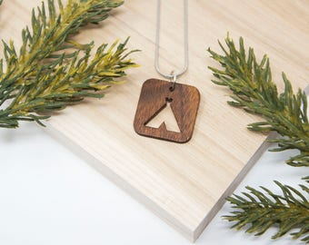 Camping Necklace - Hiking, Tent, Wanderlust, Outdoor, PNW, Mountains, Campground, Outside, Travel, cabin, Vacation, Outdoorsy, Explore