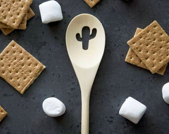 Wood Spoon - CACTUS - carved, wooden spoon, kitchen spoon, custom, strainer, handmade, housewarming gift, cookware, Cooking Utensil
