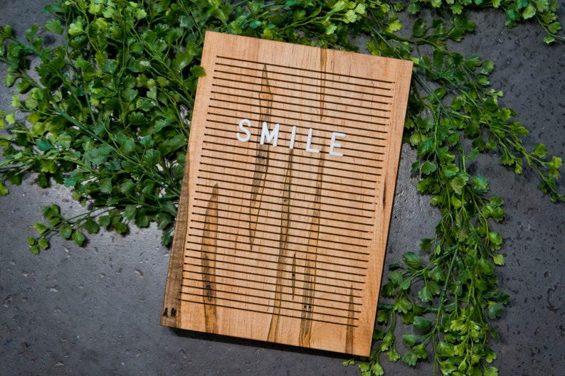 Wooden Letter Board 7x10  WORMY MAPLE  Letterboard Message image 0
