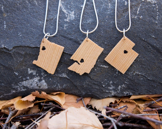 State Necklace in Maple- Personalize with ANY State and City -  Wood, Heart, Pride, City, State Jewelry, Pendant, Gift, Sterling Silver