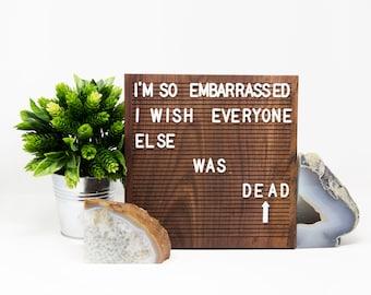 Wooden Letter Board 10x10- Walnut -  Letterboard, Message Board, Felt Board, Modern Farmhouse, Modern Cabin, Wabi-Sabi, Organic, Handcrafted