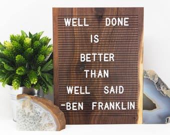 Wooden Letter Board 9x12- Walnut -  Letterboard, Message Board, Felt Board, Modern Farmhouse, Modern Cabin, Wabi-Sabi, Organic, Handcrafted