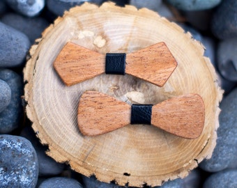 Mahogany Wood Hair Bow (2-pack) - 4 Colors - Black, Green, Maroon, Red - Hair Accessories, Clip, Up-do, Birthday, Prom, Photo Prop, Pretty