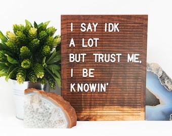 Wooden Letter Board 8x10 -BLACK WALNUT - Letterboard, Message Board, Felt Board, Modern Farmhouse, Modern Cabin, Natural, Organic