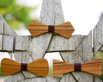 Canary Wood Bow Tie - Oxblood leather accent