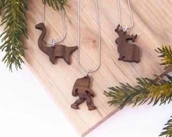 Cryptid Necklace Set- Bigfoot, Jackalope, Loch Ness Monster - Cryptozoology, mythological, camping pendent, Sasquatch, outdoor, myth