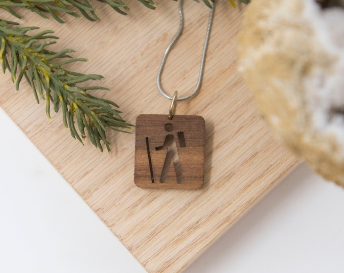 Hiking Necklace, Hiker Necklace, - Explore, pendent, trail,  handmade, camping, outdoor, wander, PNW, Pacific Northwest, Washington, Oregon