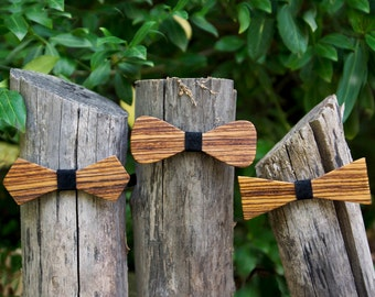 Zebra Wood Bow Tie - Midnight Black leather accent