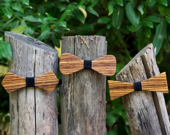 Zebra Wood Bow Tie - Midnight Black leather accent