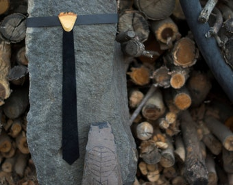 Wood and Leather Skinny Tie for Children - Black
