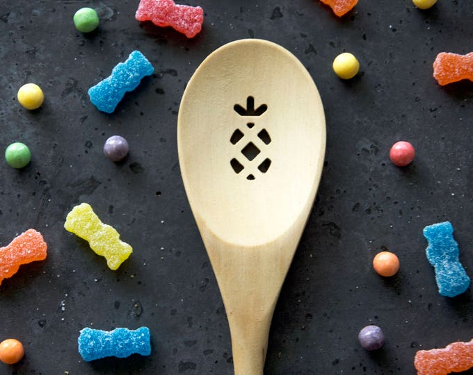 Wood Spoon - PINEAPPLE - carved, wooden spoon, kitchen spoon, custom, strainer, handmade, housewarming gift, cookware, Cooking Utensil
