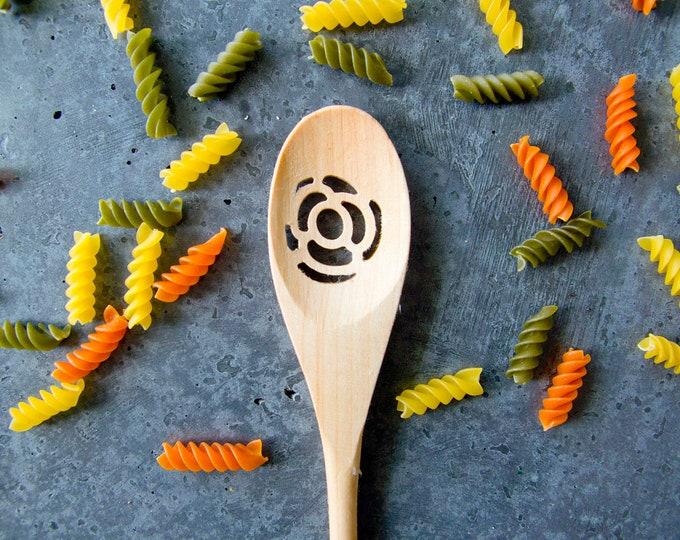 Wood Spoon - ROSE FLOWER - carved, wooden spoon, kitchen spoon, custom, strainer, handmade, housewarming gift, cookware, Cooking Utensil