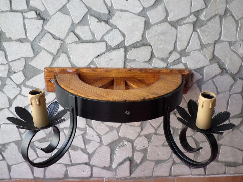 Applique rustico in ferro battuto e legno mod ota luci e etsy