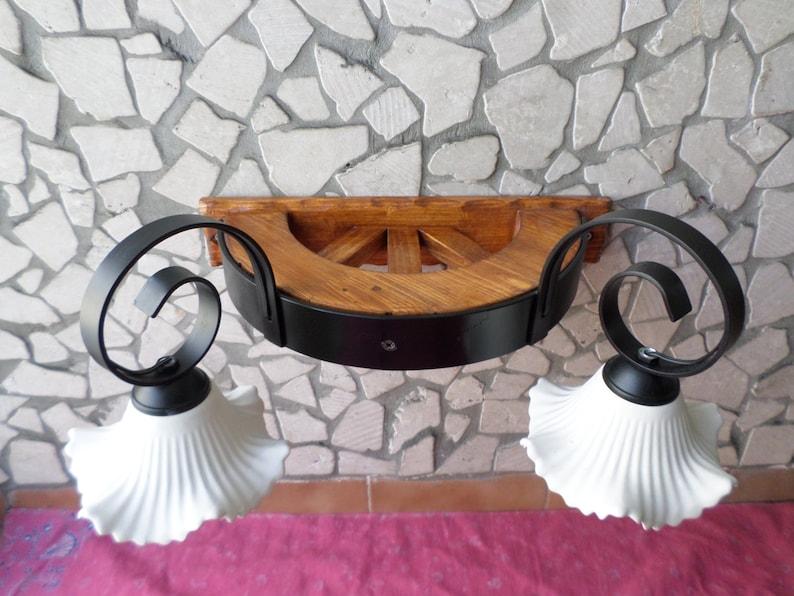 Applique rustico lampada in ferro battuto e legno con coppette etsy