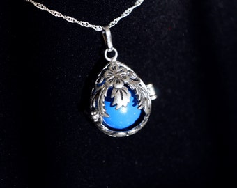 """Gentle Chime Floral Teardrop Pendant with Multiple Color Options in 925 Sterling Silver With 18"""" or 22"""" Sterling Silver Chain"""