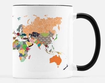 Patterned World Ceramic Mug with Black
