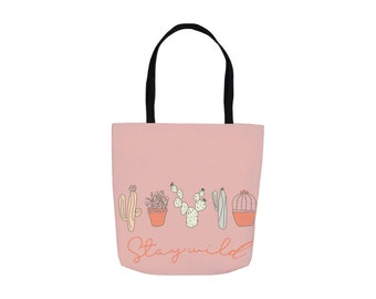 Pink Stay Wild 13x13 Canvas Tote