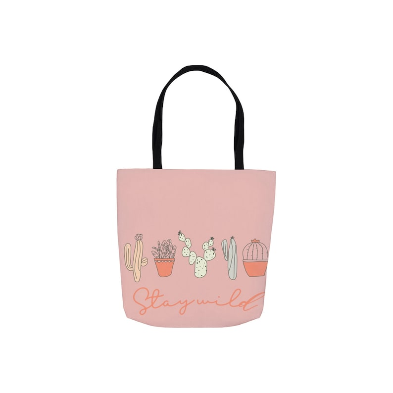 Pink Stay Wild 13x13 Canvas Tote image 1