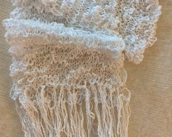Scarf, lace scarf, Victorian lace scarf, cotton scarf, acrylic scarf, summer scarf, Boho scarf, steampunk scarf, white scarf