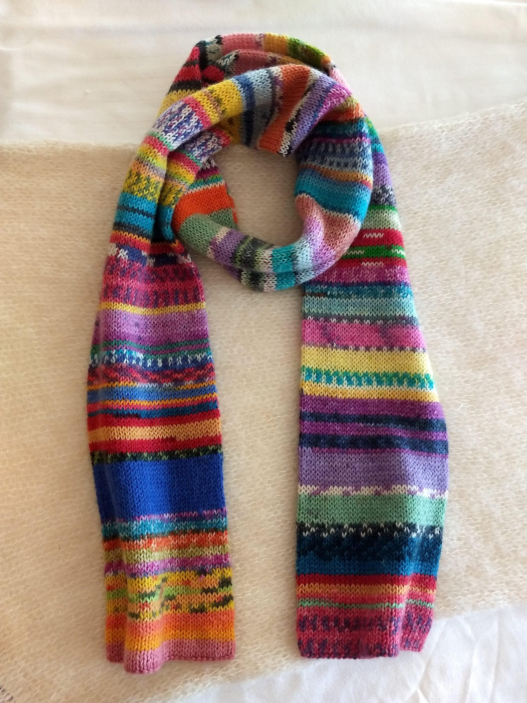 Cowl Wool Scarf Hand Cranked Scarf Opal Yarn Sock Yarn Scarf Cowl
