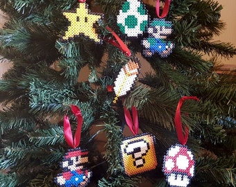 Set of 7 Mario inspired Christmas tree decorations / ornaments. Hama / Perler beads