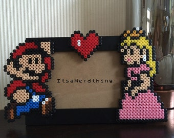 Mario and Princess Peach Photo or Picture  Frame.  Perler / Hama Beads