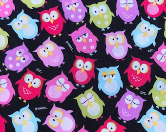 """OWLS cotton fabric 1 Yard  x 44"""" 100% cotton quilting fabric, mask fabric"""