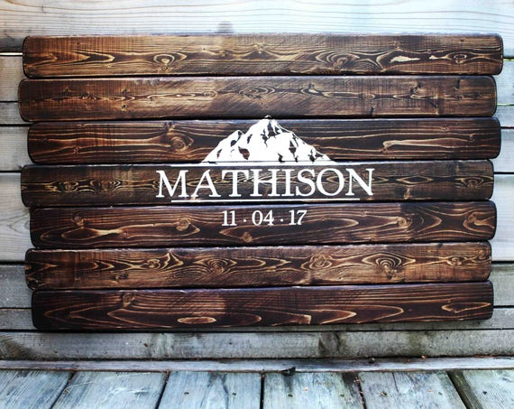 Rustic Real Wood Wedding Guest Book Sign W/ Mountains & Personalized Engraving, Custom Unique Wood Wedding Sign, Unique Rustic Wedding Sign