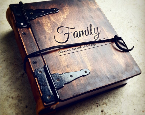 PROMOTION: Monogram Wood Photo Album For Christmas Gift, Wood & Leather Family Christmas Gift FREE SHIPPING to Canada Sale