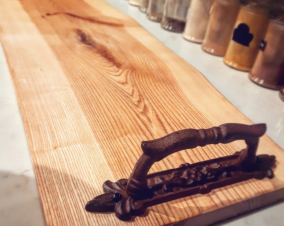 Large Live Edge Wood Charcuterie Board with Cast Iron Handles and Personalized Engraving, Monogrammed Wedding Gift Idea, Custom Wood Board