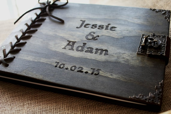 Rustic Wedding Guest Book, Custom Personalized Wooden Book W/ Leather Spine & Braided Leather Hinge, Wood Journal, Wedding Album, Sketchbook