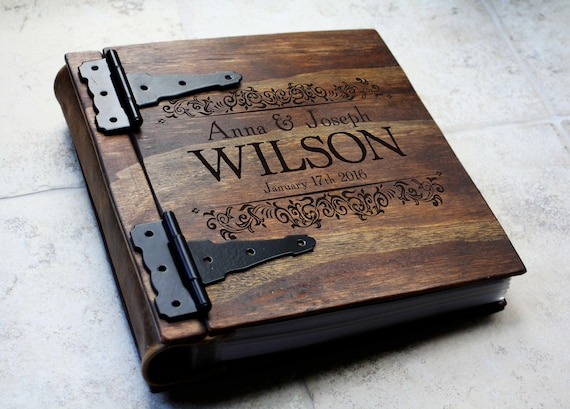 Monogram Wood Photo Album Gift, Unique Wood & Leather Gift Idea, Personalized Christmas Gift