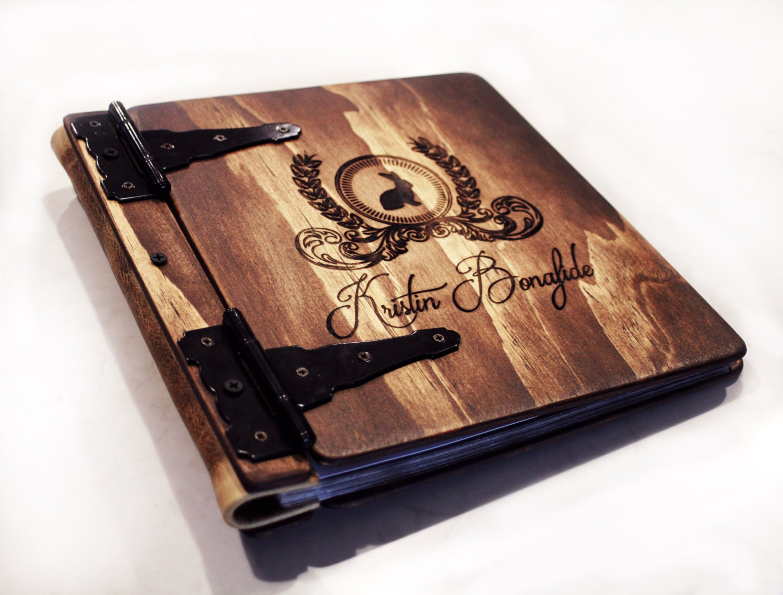df51c028b8b18 Monogram Photo Album, Wood & Leather Artist Portfolio, Rustic ...