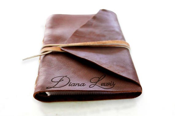 Private Listing - Custom Personalized Genuine Italian Leather Book W/ Live Edge and Torn Edge Pages. Handmade Leather Book With Lace Binding