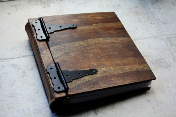 Wooden Book, Large Rustic Baby Memory Album, Large Custom Personalized Wood Book W/ Leather Spine, Unique Gift Idea, Engraved Wood Book