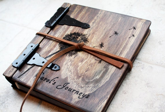 Unique Wood Photo Album, Journal + Dandelion, Artist Portfolio, Large Custom Personalized Wood Book, Unique Gift Idea, Personalize Wood Book