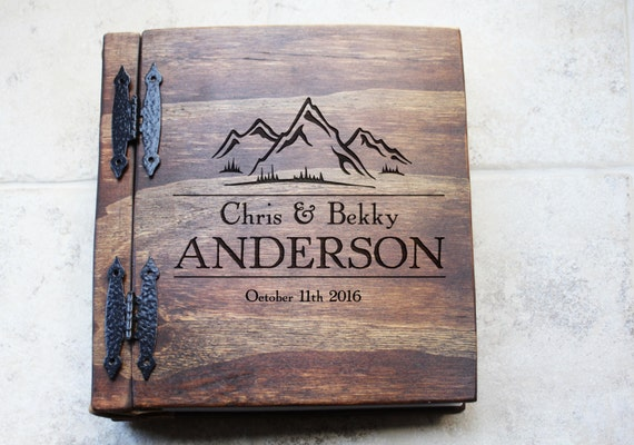 Unique Wood Wedding Photo Album, Monogrammed Personalize Wedding Album w/ Mountain, Custom Personalize Wood Book, Unique Wood Book Gift Idea