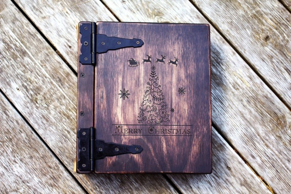 Christmas Gift, Monogram Photo Album, Handmade Wood & Leather Christmas Gift Idea, Personalize Photo Album Book, Perfect Christmas gift Idea