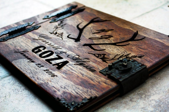 Rustic Wedding Guest Book W/ Antlers, Custom Personalized Wooden Book W/ Leather Spine Leather Clasp, Wooden Journal with Antlers